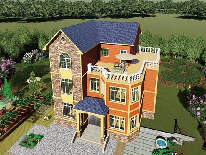 农村三层轻钢结构别墅