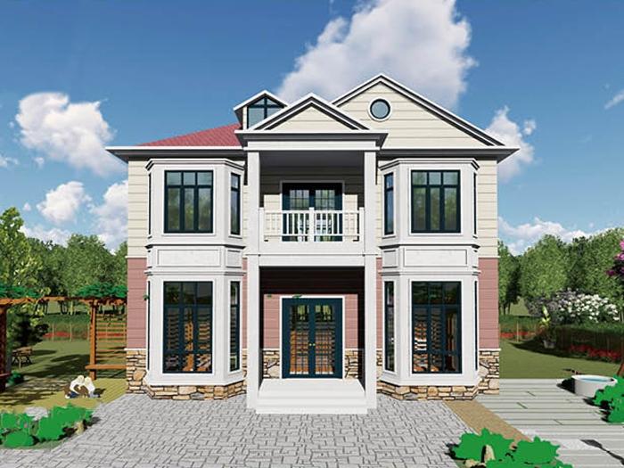 农村二层别墅美式轻钢房屋